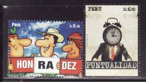 Peru-Sc #1674-75-Unused NH-Punctuality-2009-