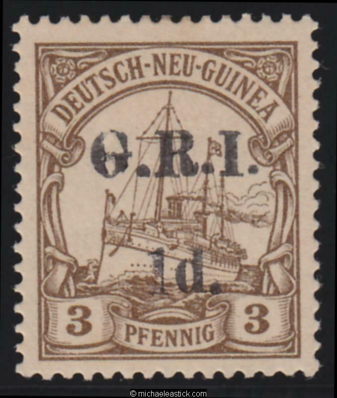 1914 New Guinea 1d GRI overprint on 3pf, SG 16, MH