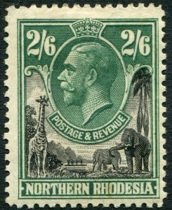 NORTHERN RHODESIA-1925-29 2/6 Black & Green Sg 12 MOUNTED MINT V35923
