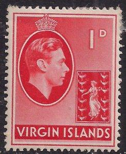 British Virgin Islands 1938 - 47 KGV1 1d Red MM SG 111a ( E917 )