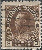Canada 108 (used) 3c George V, brown (1918)
