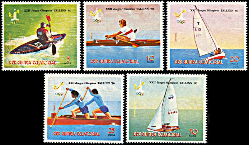 Equatorial Guinea 7840-7844, MNH, Moscow Olympics Water Sports