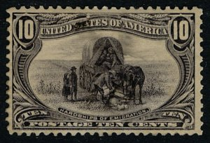 US #290 SCV $275.00 XF mint lightly hinged, very well centered for the notori...