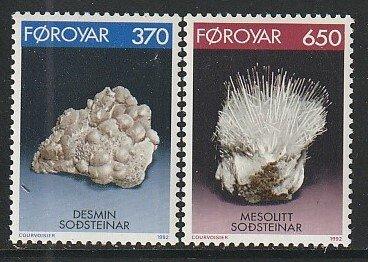 1992 Faroe Islands - Sc 241-2 - MNH VF - 2 single - Minerals