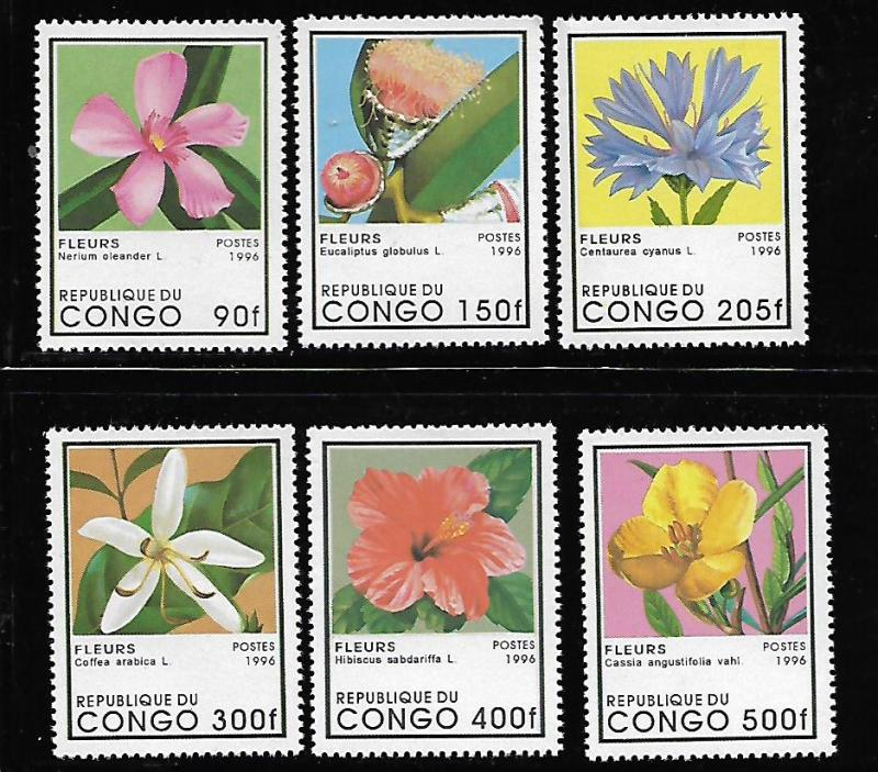CONGO 1109-1114 MNH FLOWERS ISSUES 1996