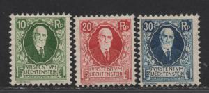 $Liechtenstein Sc#B1-B3 M/H/F-VF, complete set, Cv. $70.50
