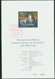 MEXICO 2786, MEXICAN WOLVES, ENDANGERED SPECIES.. TECHNICAL BROCHURE VF.