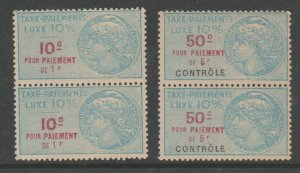 France and Colonies revenue Fiscal stamp 11-18-20-B- MNH Gum