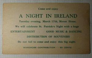 Memphis Tenn Philatelic Invitation Postcard 1931 Night in Ireland Moose Home