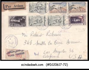 TUNISIA - 1961 AIR MAIL REGISTERED ENVELOPE to USA with 7-stamps