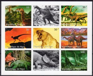 Niger 1999 DINOSAURS Sheet (9) Imperforated Mint (NH)