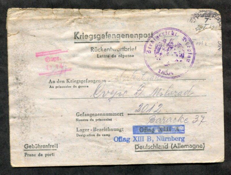 p380 - WW2 SERBIA Petrovgrad 1942 CENSORED Cover to POW Camp XIII/B GERMANY