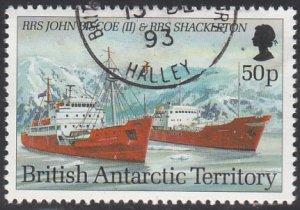 British Antarctic Territory 1993 used Sc #210 50p RRS John Biscoe II, RRS Sha...