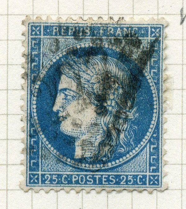 FRANCE;  1870s early classic Ceres issue fine used value 25c. ,