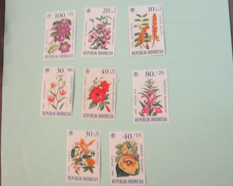 Indonesia B191-98, MNH Sets. Flowers. SCV - $5.00