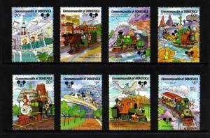 DOMINICA - 1987 - DISNEY - TRAINS - MICKEY - DONALD - THEME PARKS - MINT NH SET!