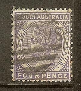 South Australia, Scott #109, 4p Queen Victoria, P13, Used
