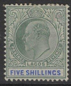 LAGOS SG62 1905 5/= GREEN & BLUE MTD MINT TONE SPOT