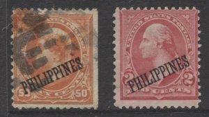 Philippines #212, 214. Used/Mint No Gum - USA Overprint 1899-1901 CV$330