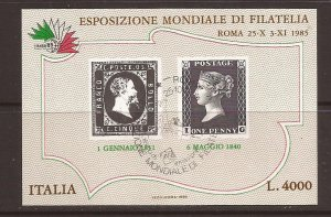 1985 Italy - Sc 1653 - used VF - Souvenir Sheet - Italia '85