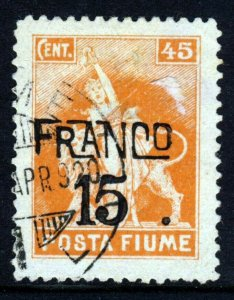 FIUME ITALY 1919 Surcharged FRANCO 15 on 45C. Orange SG 101 VFU