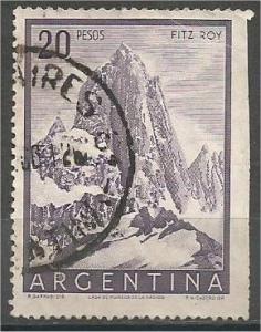 ARGENTINA, 1955, used 10p, Mt. Fitz Roy, Scott 641