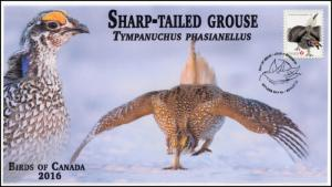 CA16-027, 2016, FDC, Birds of Canada, Sharp-tailed Grouse