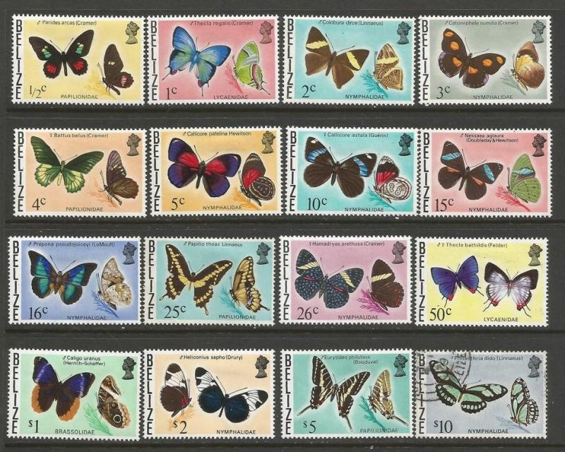 BELIZE 345-60 MOG/VFU 25C AND 10$ ARE VFU BUTTERFLIES Z2577