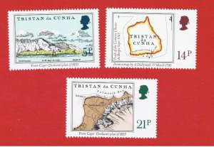 Tristan da Cunha #290-292  MNH OG  Maps & Charts  Free S/H