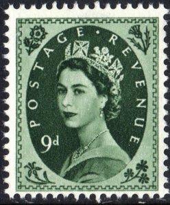 Great Britain #303 9d Queen Elizabeth II: Predecimal Wilding Single (1954) MNH