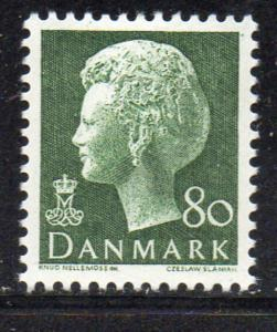 Denmark Sc 536 1974 80 ore green Queen stamp NH