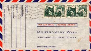 Tunisia 40F Bab-El-Khadra Gate (2) 1959 Tunis R.P. Tunisie Airmail to Chicago...