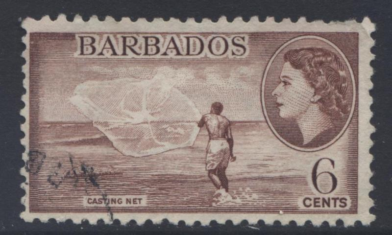 Barbados - Scott 240 -  QEII - Definitive -1953 - VFU -Single 6c Stamp1
