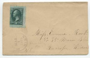 1878 Brownsdale MN cover 3ct banknote jumbo [y4031]