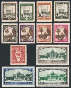 Vatican 19-27,32-34,E3-E4,MNH. 1933.Pope Pius XI - Arms,Palace,Gardens,View.
