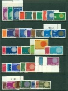 EUROPA 1970 Complete Yearset NH 19 countries Scott $77.70
