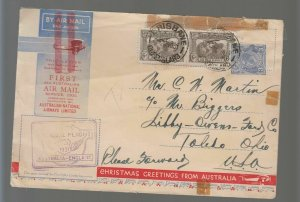 1931 Brisbane Australia to England Christmas Greetings FFC First Flight Cover