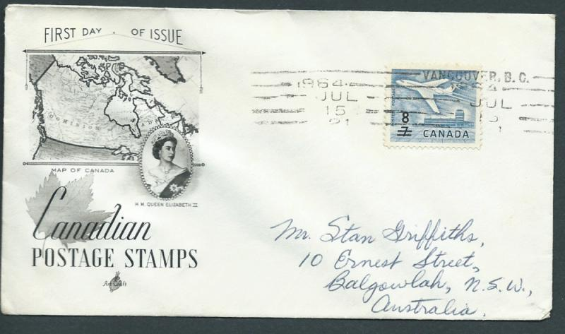 Canada  aircraft SG 556 (8 overprint) on FDC FU