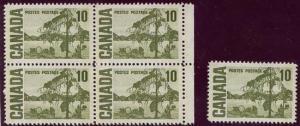 Canada USC #462pv Mint 1972 10c PVA,Winnipeg Tagged Block & Single