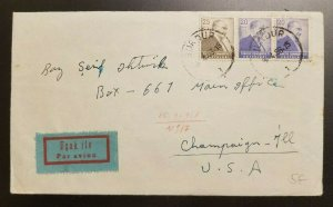 1956 Burdur Turkey Airmail Cover to Champaign Illinois With Contents