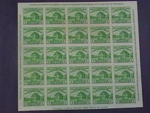 U.S.# 730--MINT/NEVER HINGED--SOUVENIR SHEET OF 25 - APS ISSUE---1933