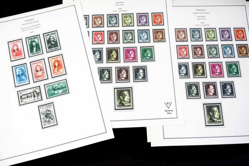 COLOR PRINTED FRANCE [LIBÉRATION] 1944 STAMP ALBUM PAGES (60 illustrated pages)