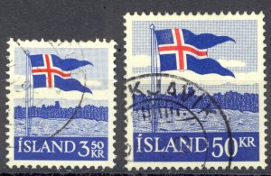 Iceland Sc# 313-314 Used 1958 Flag 40th