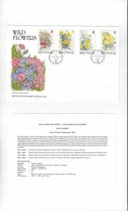 Isle of Man 340-43 Wild Flowers 1987  Official FDC