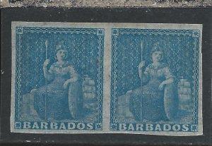 BARBADOS 1852-55 (1d) BLUE PAIR MM SG 3 CAT £120