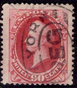 US Stamp #166 90c Rose Carmine Perry USED SCV $275. Jumbo w/ 3 Massive Margins!