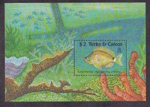 Turks & Caicos Islands # 824, Fish - Butter Hamlet Souvenir Sheet,  NH, 1/2 Cat.