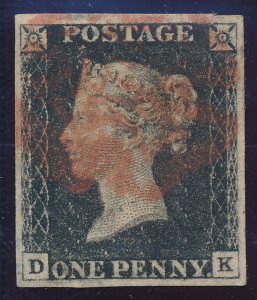 Great Britain Stamp Scott #1 Used Penny Black Four Margins Well Centered Plat...