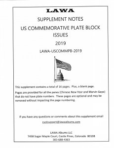 2019 US COMMEMORATIVE PLATE BLOCKS  SUPPLEMENT – LAWA Album Pages