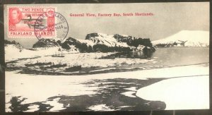 1944 Falkland Island Panoramic Postcard cover  Factory Bay South Shetlands View